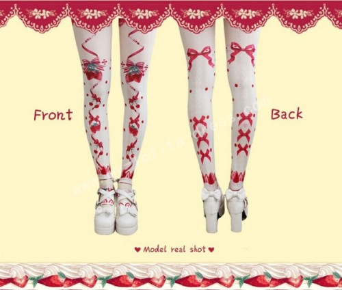 Strawberry Printed Sweet Lolita Tights