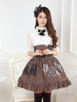 Steampunk High Waist Black& White Gear Lolita Skirt