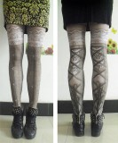 Girl's Beautiful Lolita Tights with Lace Up Design