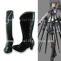 Gothic Black Shaft Black Square Heel Boots