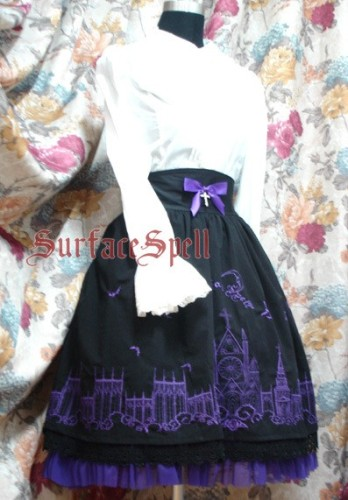 Surface Spell Gothic Moonlight Cathedral Embroidery Lolita Skirt
