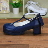 Angelic Imprint- Sweet T-shaped Straps Lolita Square Heel Shoes with Detachable Angel Wings