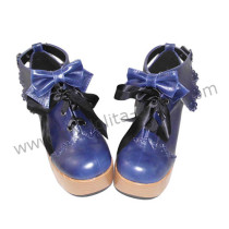 Dark Blue Bows Lolita Heels Shoes