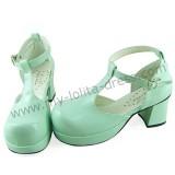 Shiny Mint T-strap Lolita Sandals