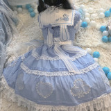 Alice Girl ~Alice~ Lace Bow Lolita OP -Pre-order Blue OP Size M & Blue Black OP Size M- In Stock