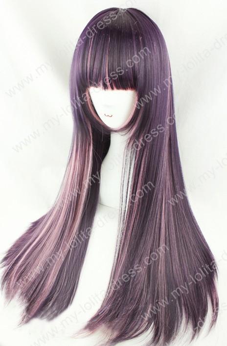 Dark Grape Purple Pink Straight 70cm Gothic Lolita Wig