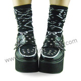 Black Silver Punk Lolita Shoes