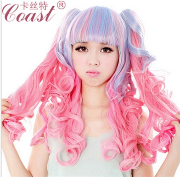 Sweet Pink Blue Blended Lolita Wavy Wig with Removable Ponytails 50cm Long
