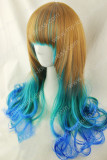 Brown Green Blue 3 Colors Natural Curly Wig