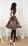Steampunk High Waist Black& White Gear Lolita Skirt