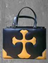 Loris Rose Cross Pleather Handbag Black with Silver Cross - In Stock