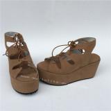 High Platform Beige Lolita Sandals with Shoelace
