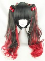 Black Red Curls Lolita Wig 50cm Long