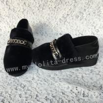 Sweet Matte Black Imitate Furs Lolita Shoes