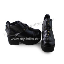 Matte Black Slipping Sole Punk Lolita Shoes