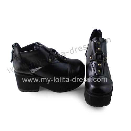 Matte Black Slipping Sole Punk Lolita Shoes