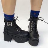 Punk Black Matte Lolita Short Boots O