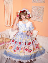 Strawberry Bee Bear Sweet Lolita OP - In Stock