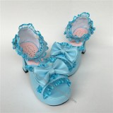 Sweet Matte Blue Lace Bows Lolita Shoes