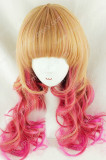 Brown Pink Blended Curls Lolita Wig
