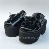 Sweet Glosssy Black Lolita Sandals Shoes Platform Flats
