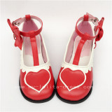White Black Heart Side Bow Lolita Shoes