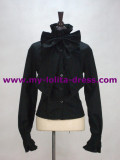Black Gothic Bow Cotton Shirt -out