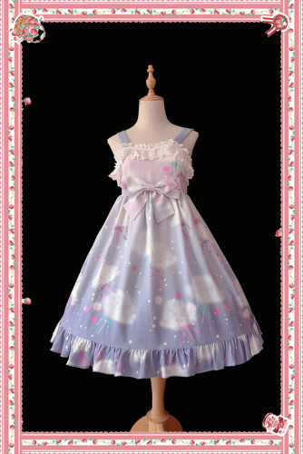Rainbow Marshmallow~ Sweet Lolita Printed JSK Navy Blue Size S - In Stock