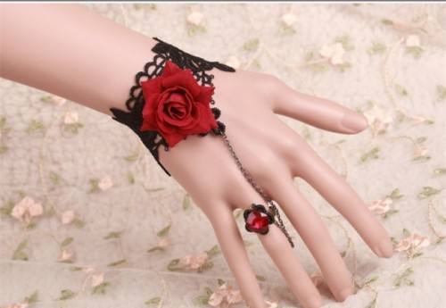 Vintage Gothic Red Rose Lolita Bracelet with Crystal Ring