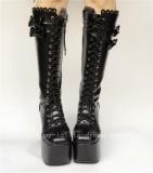 Black Bows Autumn Lolita Boots