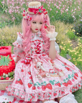 Diamond Honey ~Strawberry Picnic Rabbit Lolita Jumper -Pre-order