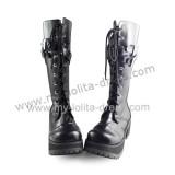 Matt Black Slip Sole Lolita Gothic Boots