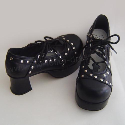 Black Silver Dots Lolita Shoes