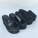 Matte Black Single belt Lolita Sandals