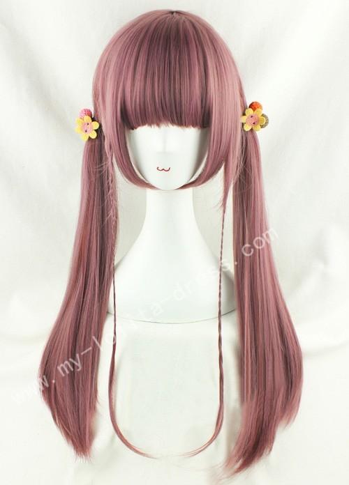 70cm Purple Brown Straight Lolita Wig