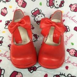 Red Bows Lolita Flats Shoes