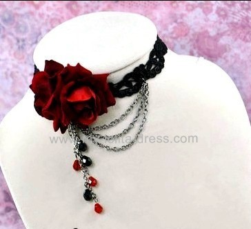 Wine Roses Queen's Party Night Lolita Choker - In Stock