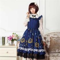 Vintage Dark Blue Stars & Moons Printed Lolita JSK