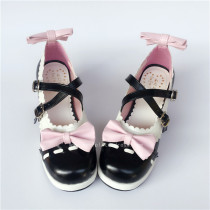 White Black Bows Lolita Summer Shoes