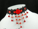 Blossom Dance Black Red Two Colors Lolita Choker 2 Versions