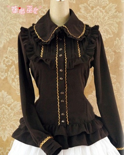 Long Sleeves Ruffles Silk Linen Lolita Shirt