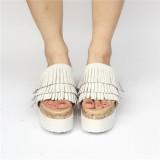 Sweet High Platform White Velvet Lolita Sandals
