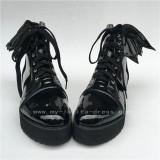 Sweet Matte Black Lolita Square Heels Shoes