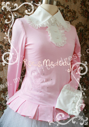Alice Fairy Tail Embroidery Blouse Pink(bust:104cm, waist:92cm) - IN STOCK