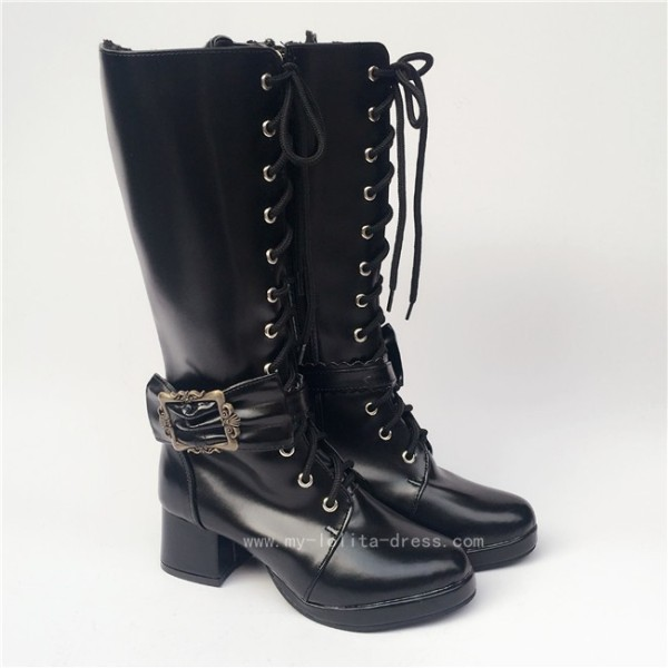Lace-up Black Matte Lolita Boots