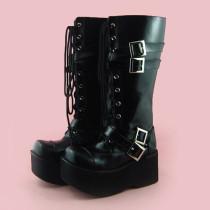 Black Buckles Lolita Boots