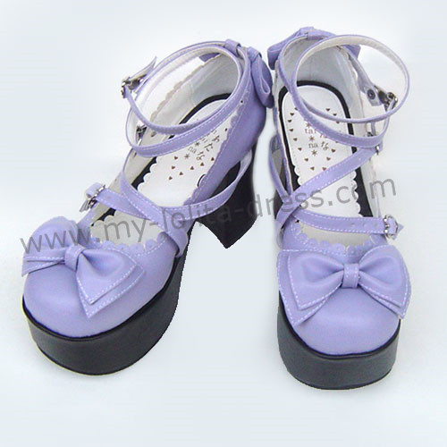 Purple Double Straps Bow Lolita Shoes