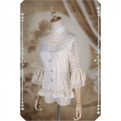 IchigoMikou ~Drizzle & Thin Clouds~ Qi Lolita Blouse -In Stock