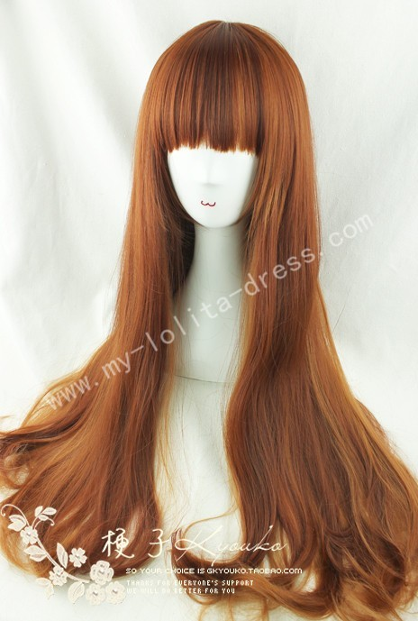 80cm Curls Saddle Brown Lolita Wig