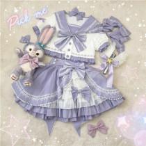 Rising Star ~Sweet Sailor Lolita Top+Skirt Set - Ready Made Sax+Pink M